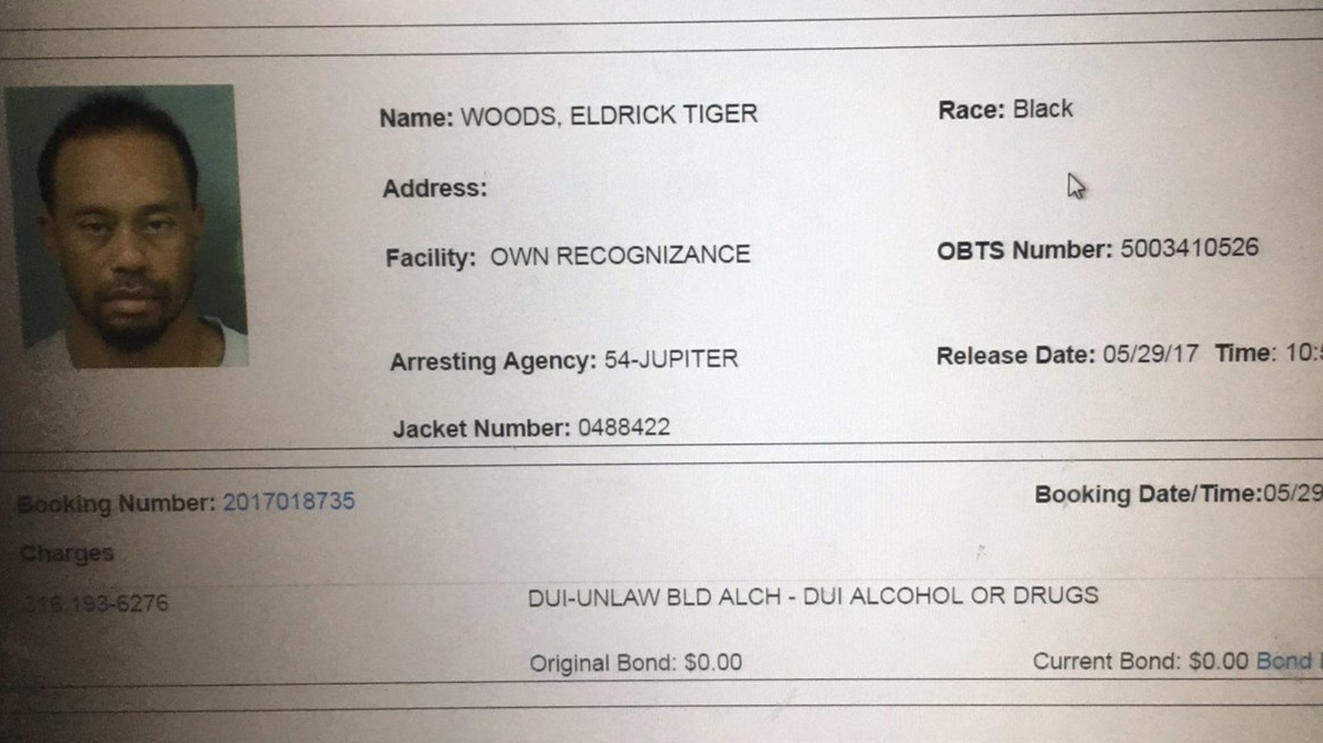 """La ficha del arresto por """"conducir bajo el efecto de alcohol o drogas"""""""