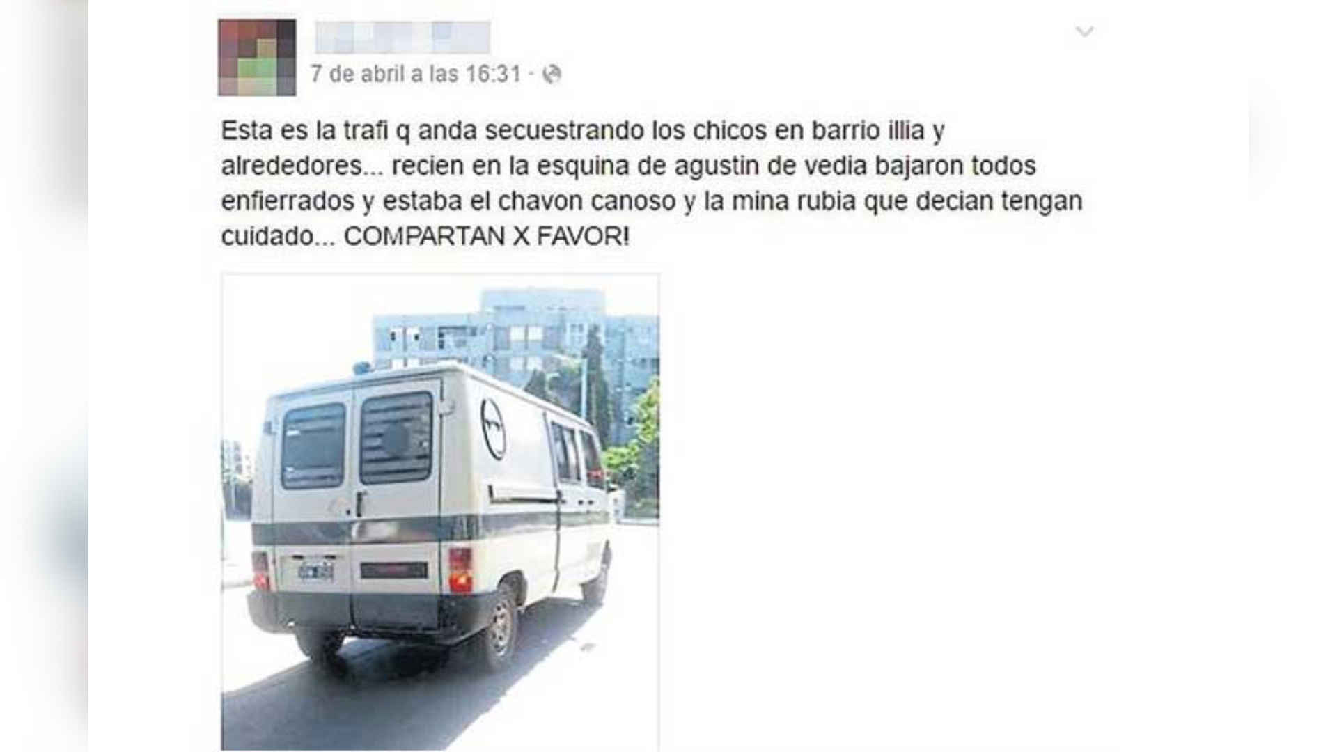 Uno de varios posteos en Facebook sobre la supuesta camioneta de los secuestros. Pompeya es el foco