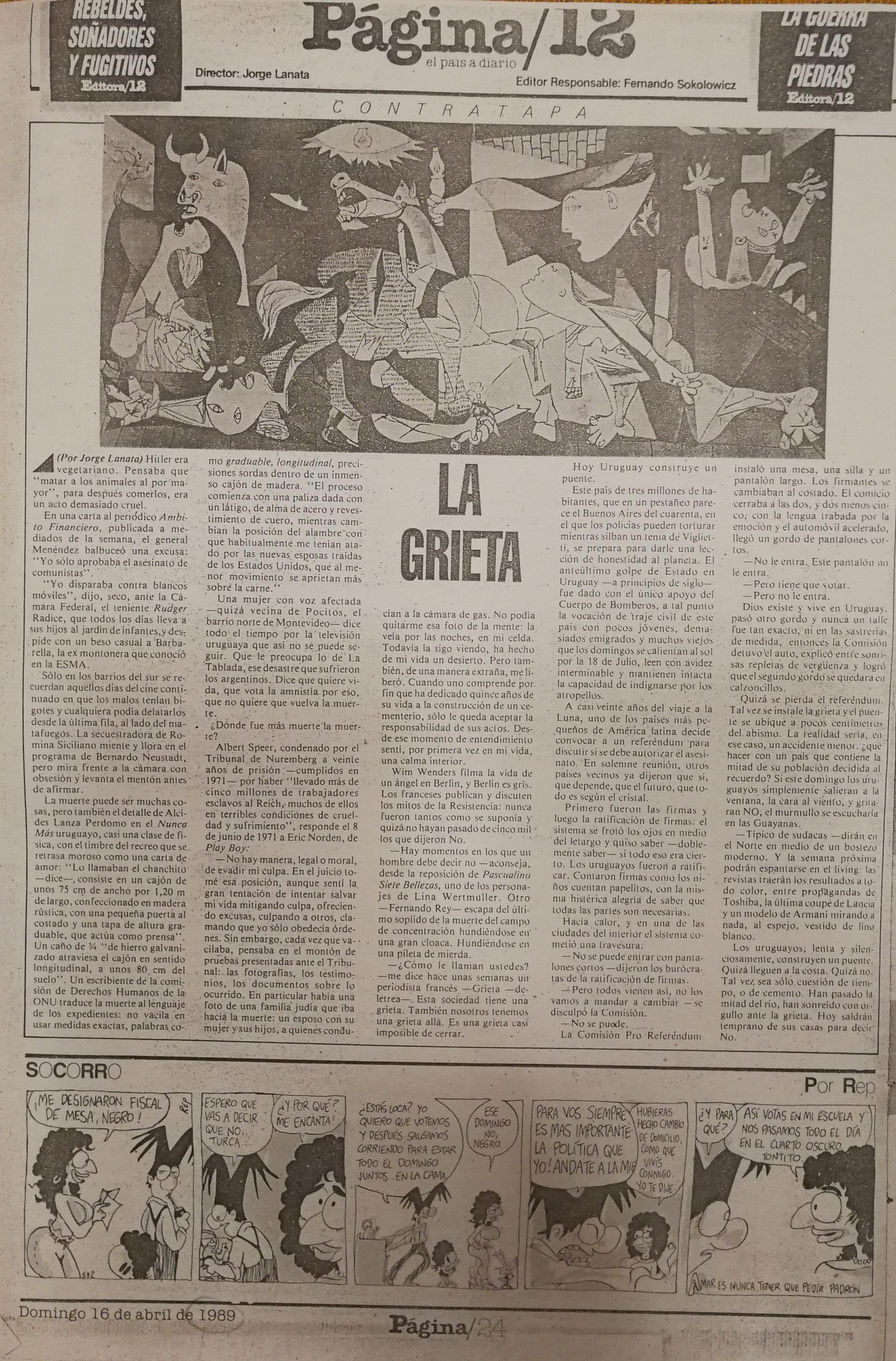"""Contratapa en la que Lanata """"inventó"""" la grieta, muchos años atrás"""