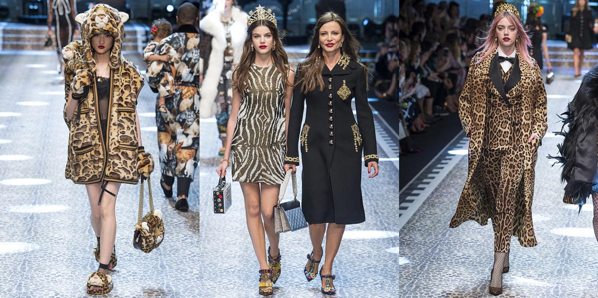 Último desfile de Dolce & Gabbana en Milán. Colección entera de animal print, icónico de la firma.