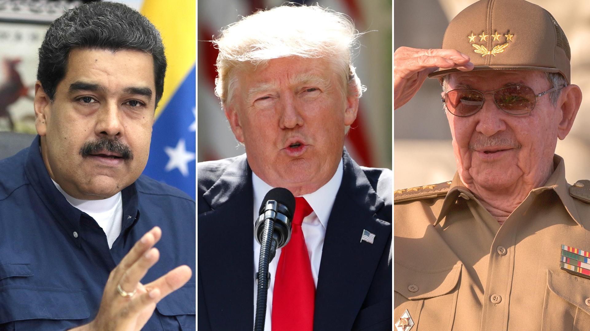 Nicolás Maduro, Donald Trump y Raúl Castro