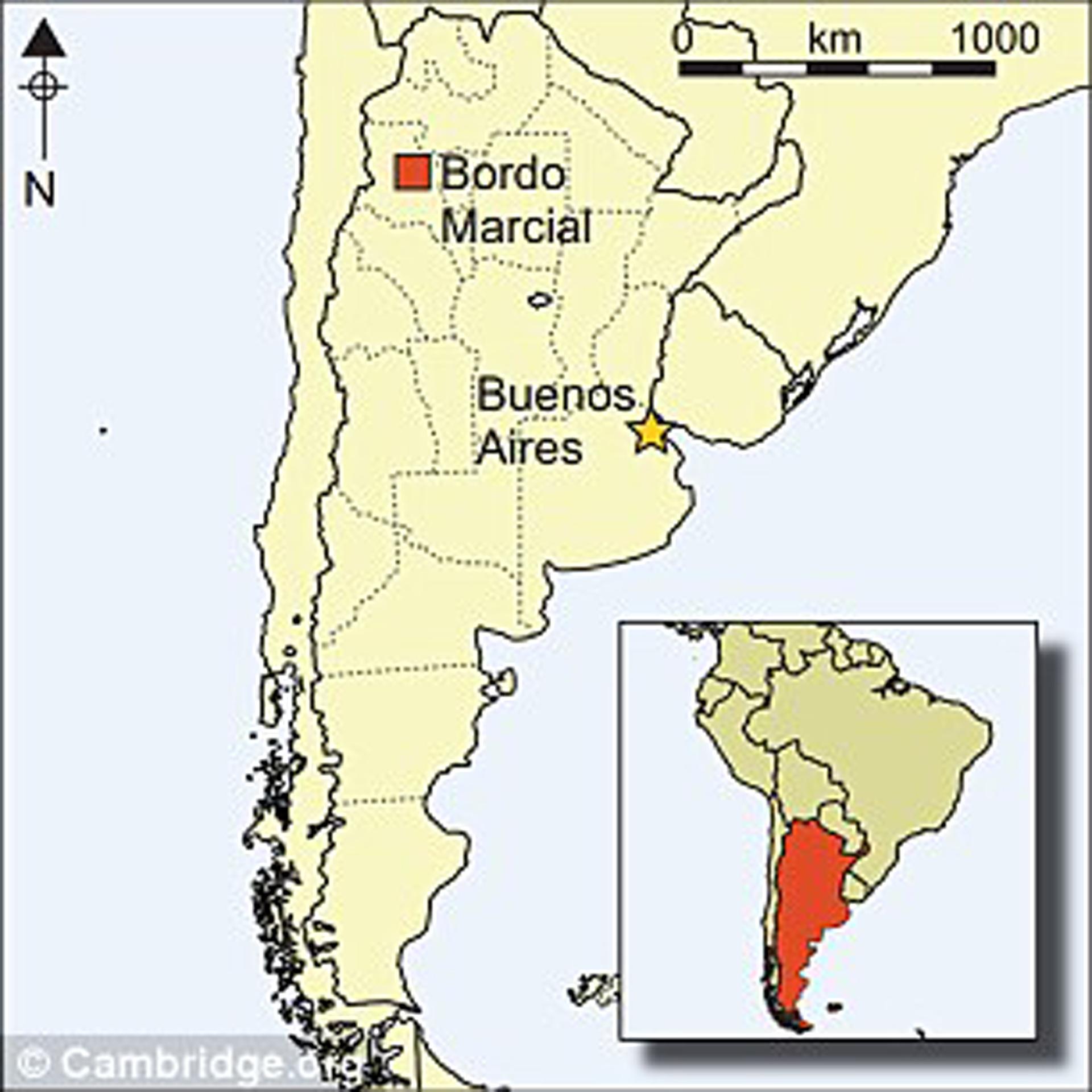 Bordo Marcial, en Andalgalá, Catamarca, donde se realizaron los descubrimientos