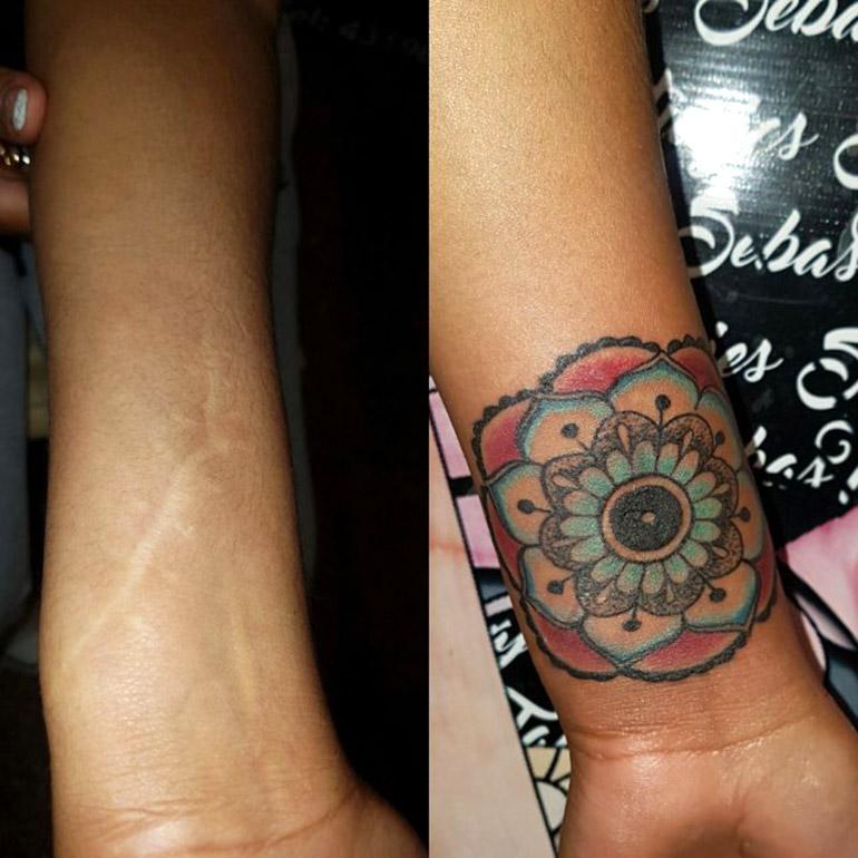 Algunos tatuajes se hicieron sobre las cicatrices de cortes con vidrios