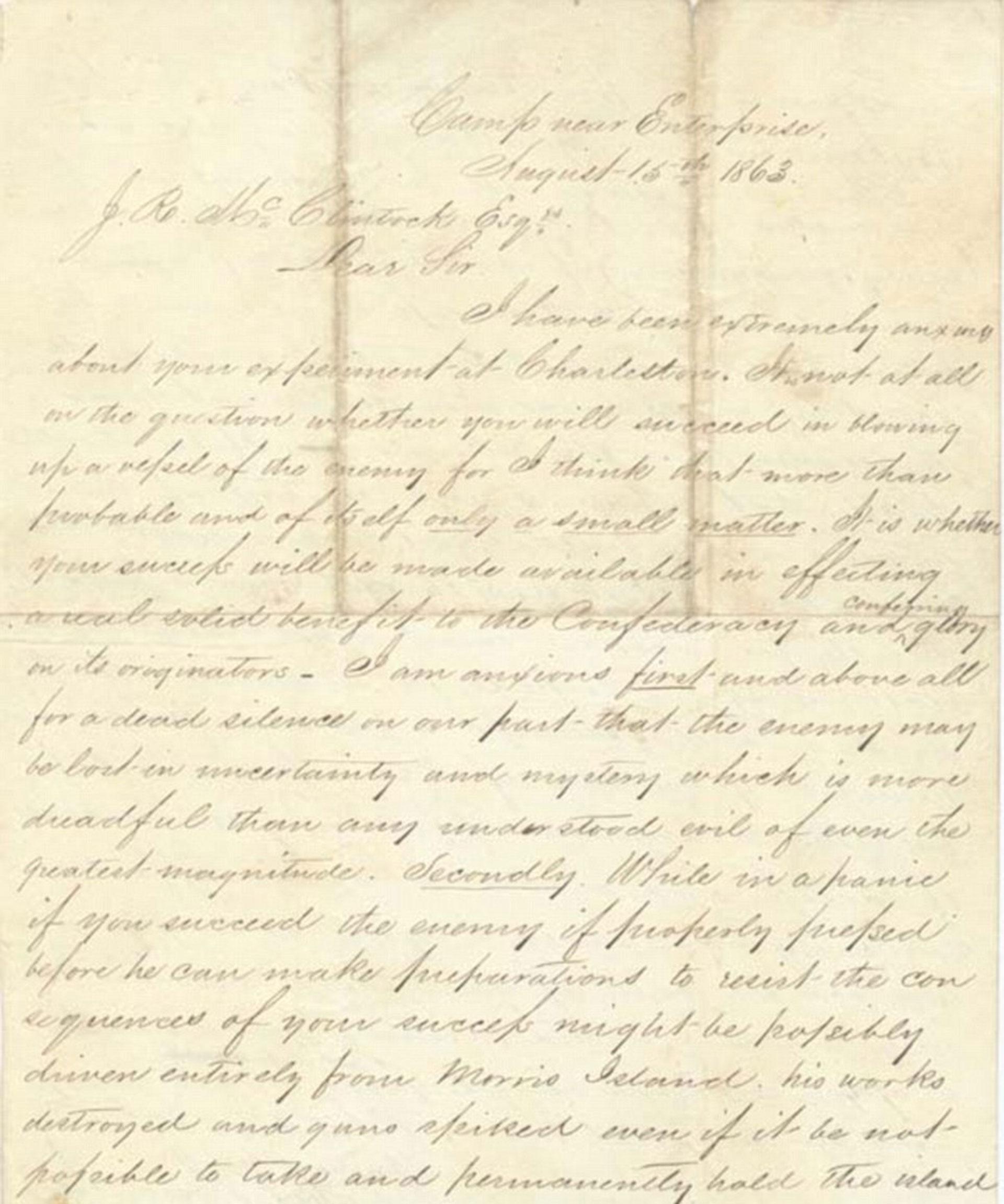 Una carta autografiada por Horace Lawson Hunley, el creador del submarino utilizado por los Estados Confederados, quien murió ahogado en su invención durante las primeras pruebas (Naval History and Heritage Command)