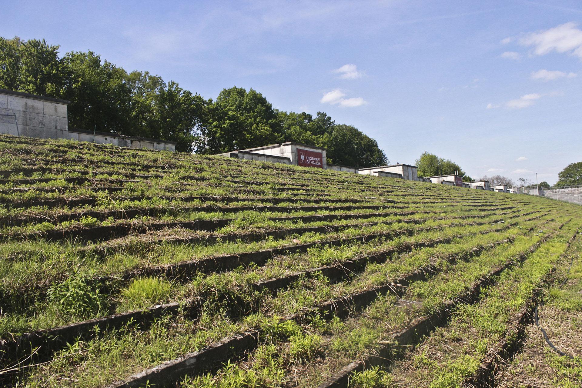 Otras tribunas abandonadas del Campo de Zeppelín, donde está creciendo el pasto