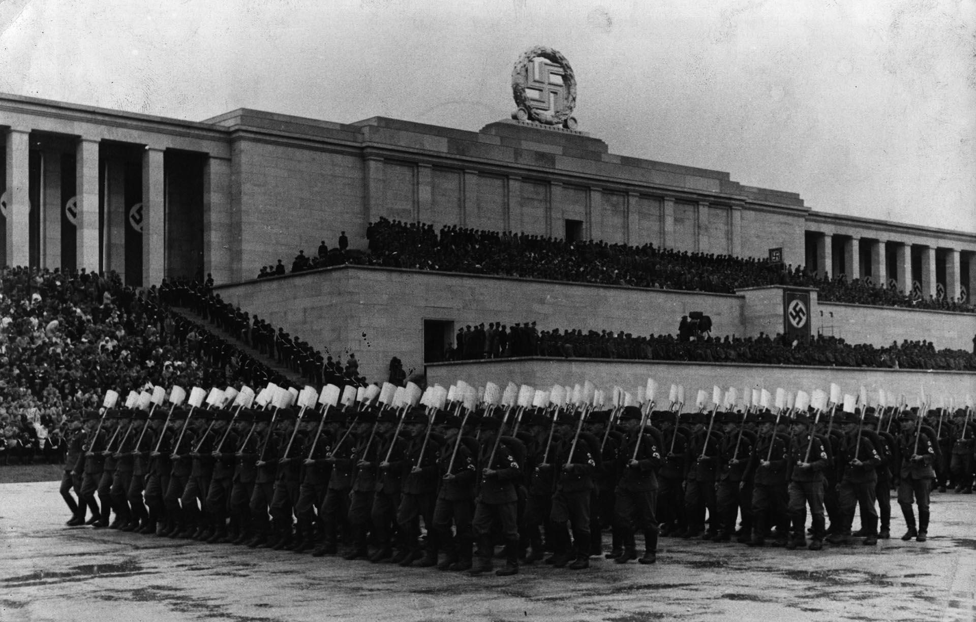 Un acto nazi en el Campo de Zeppelin de Núremberg en 1935. (Getty Images)