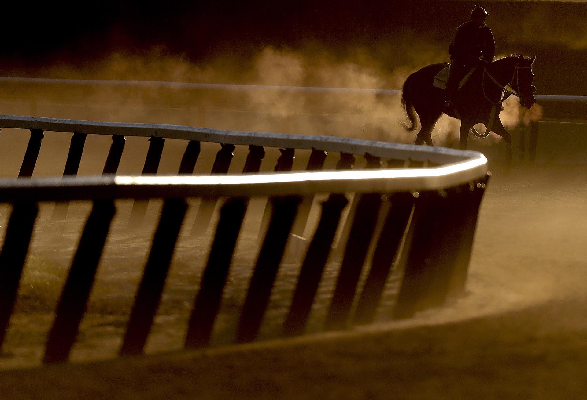 Un jinete guía a un caballo de raza alrededor de la pista durante un entrenamiento en Elmont, Nueva York, antes de la 149º carrera de las estacas de Belmont el sábado
