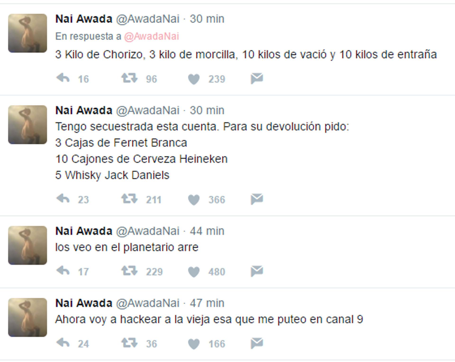 Algunos de los tuits que salieron desde la cuenta hackeada