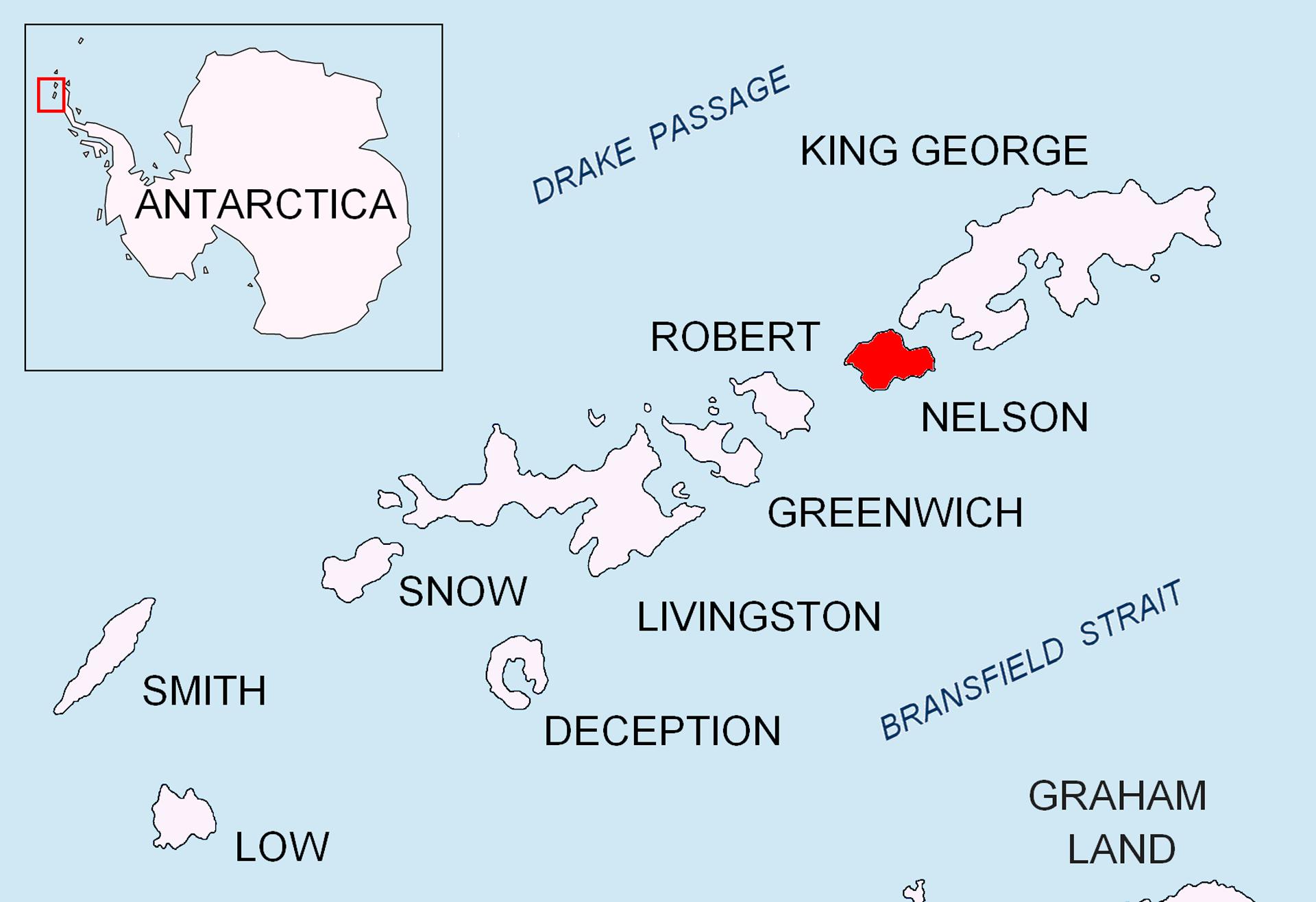 La ubicación de la Isla Nelson