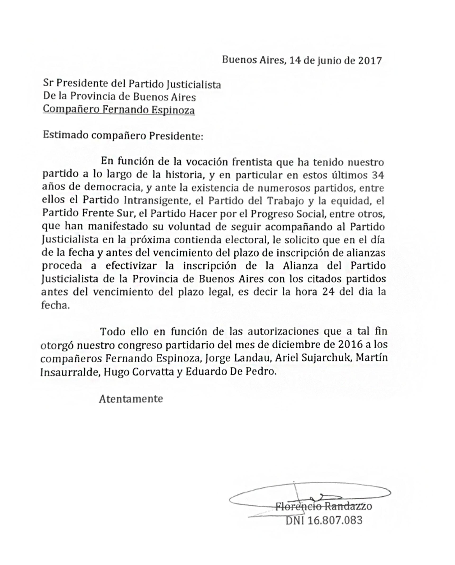 Florencio Randazzo carta a Fenrando Esínoza