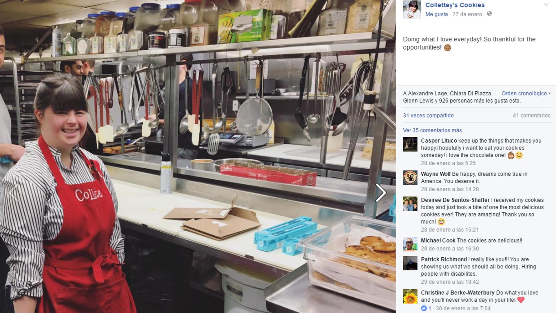La joven comparte en sus redes sociales el día a día de su negocio (Facebook Colette)
