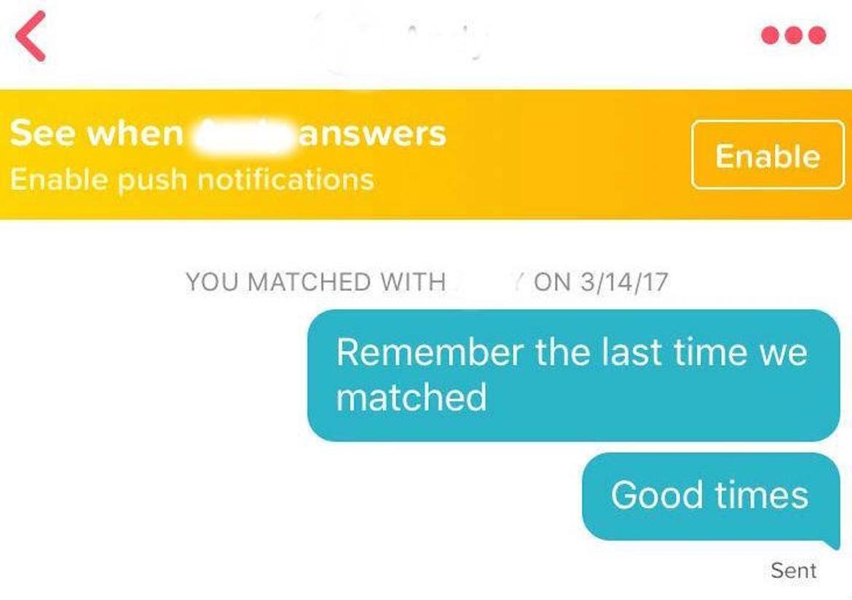 """""""¿Te acuerdas de la última vez que hicimos match? Los buenos tiempos"""""""