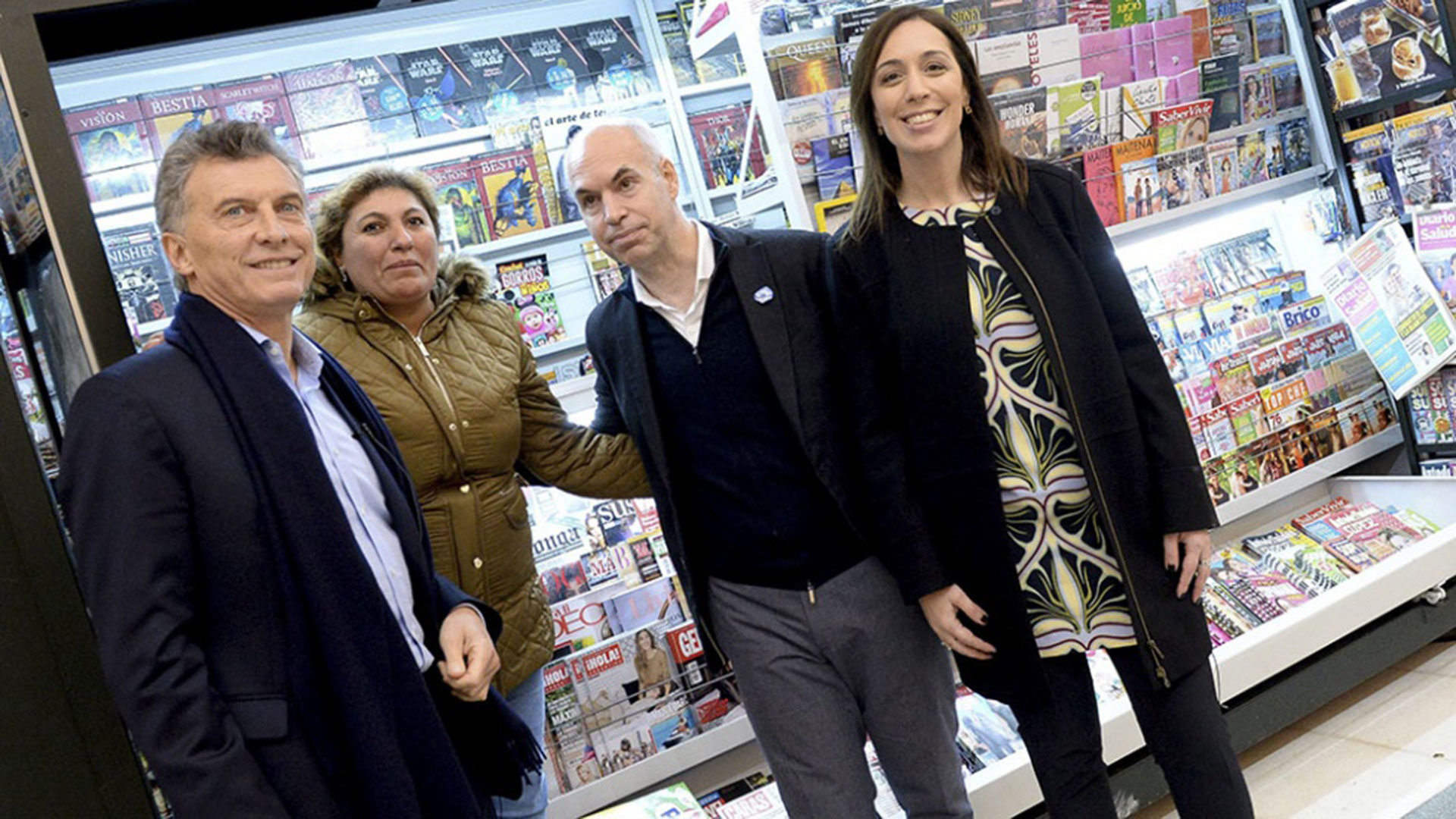 Mauricio Macri, Horacio Rodríguez Larreta y María Eugenia Vidal (Télam)