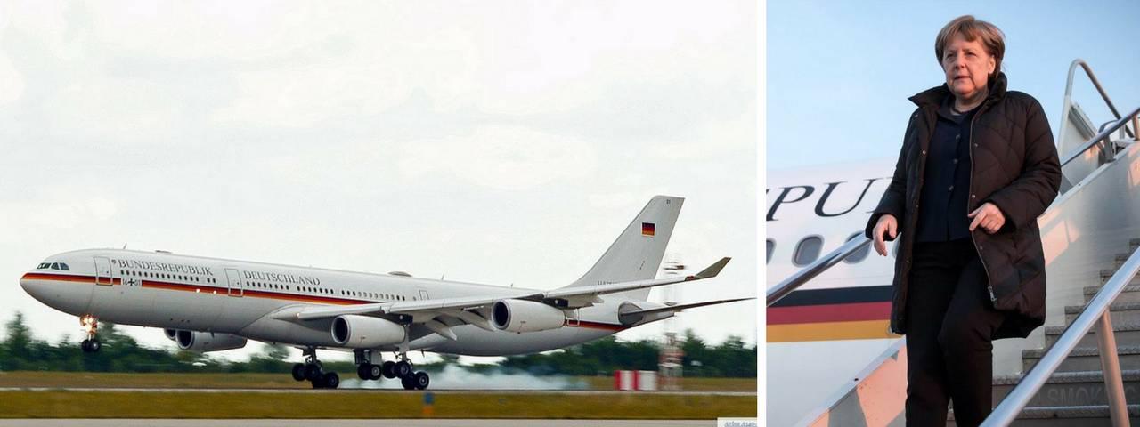 """El Airbus A340-313 """"Konrad Adenauer"""" en el viaja la canciller alemana Angela Merkel"""