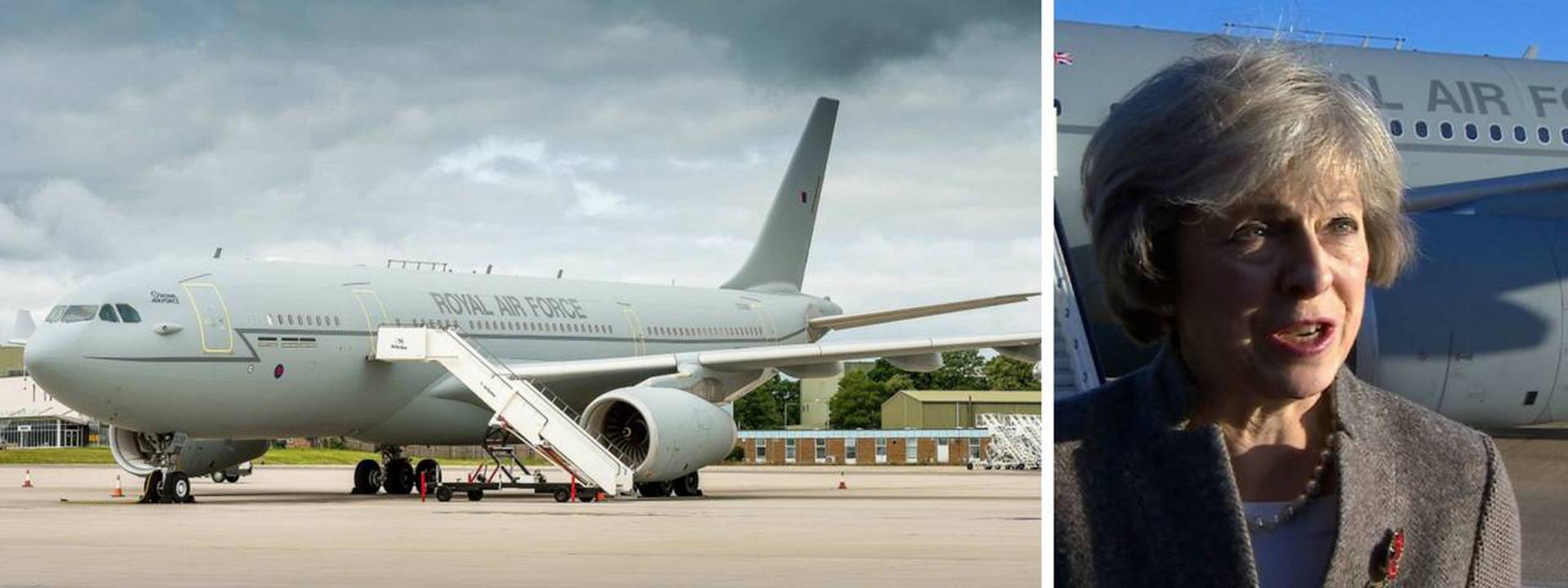 La primera ministra del Reino Unido viaja en un Airbus A330