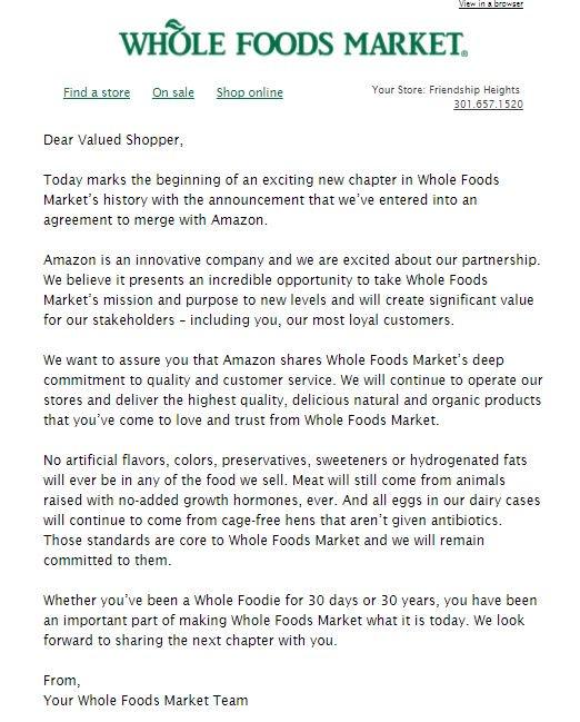 Correo difundido por Whole Foods a sus clientes