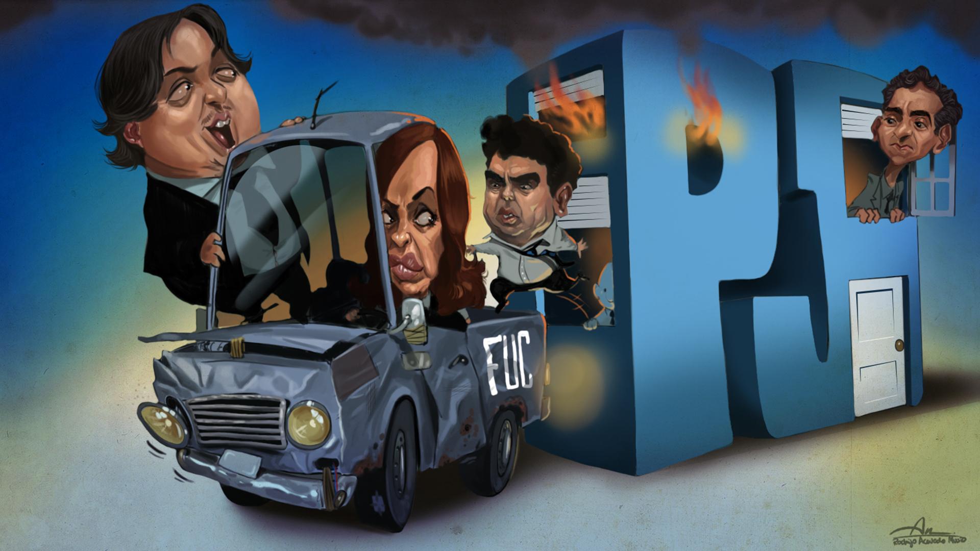 Máximo y Cristina Kirchner, Fernando Espinoza y Florencio Randazzo (Ilustración: Rodrigo Acevedo Musto)