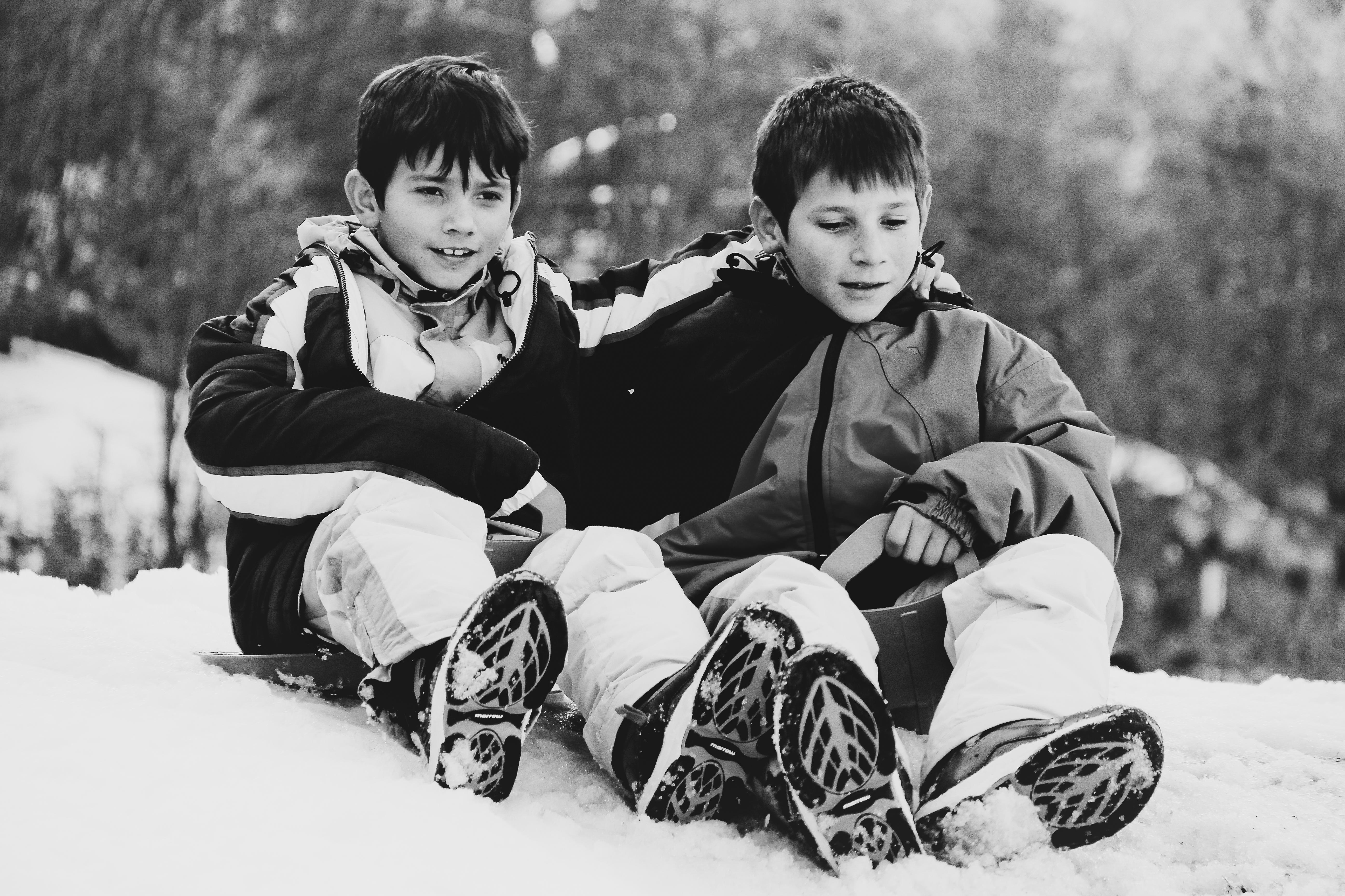 David y Batista en la nieve, por primera vez, en 2013 (Foto: Mónica Echevarría)