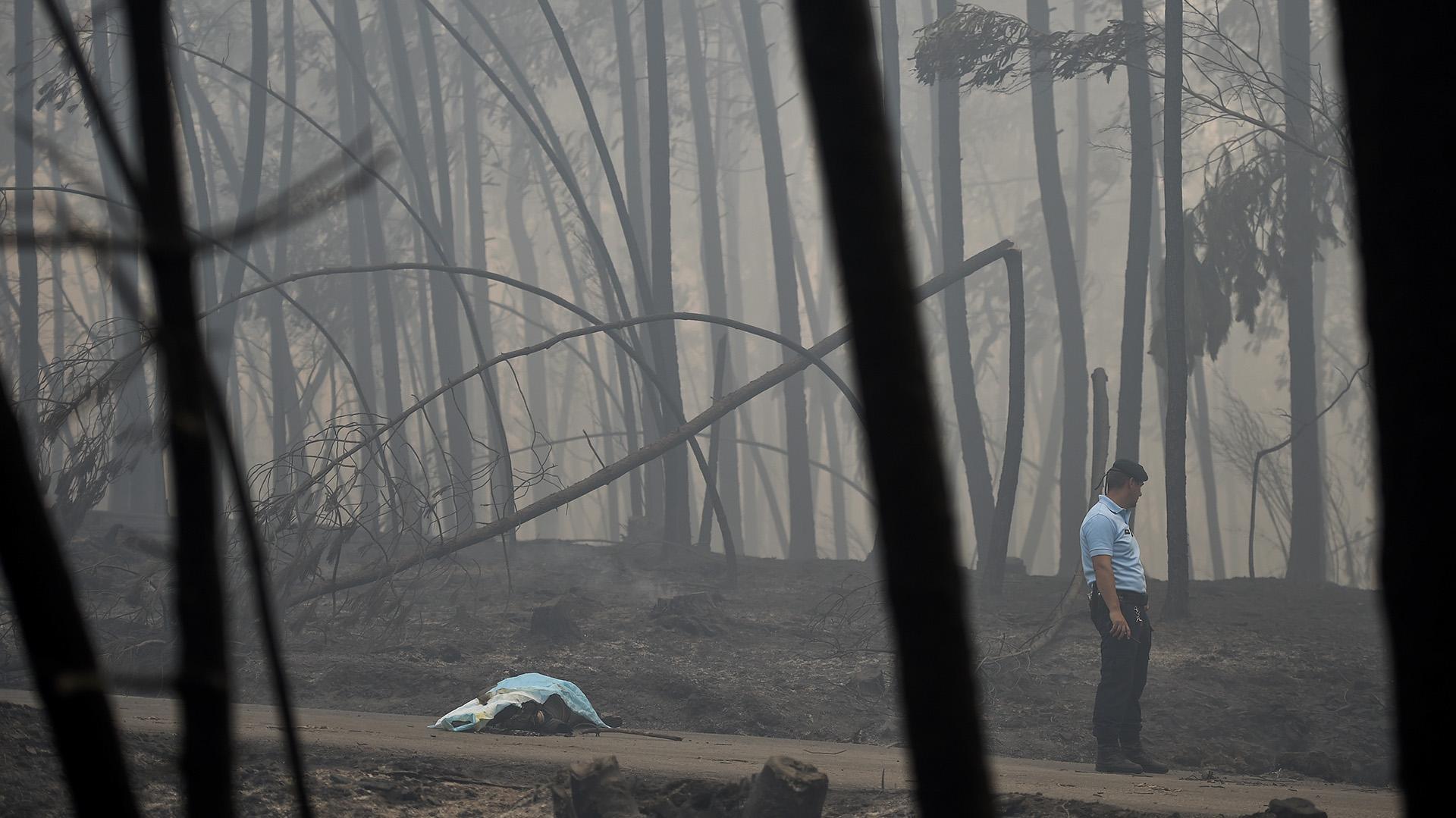 Un policía junto a una de las víctimas (AFP)
