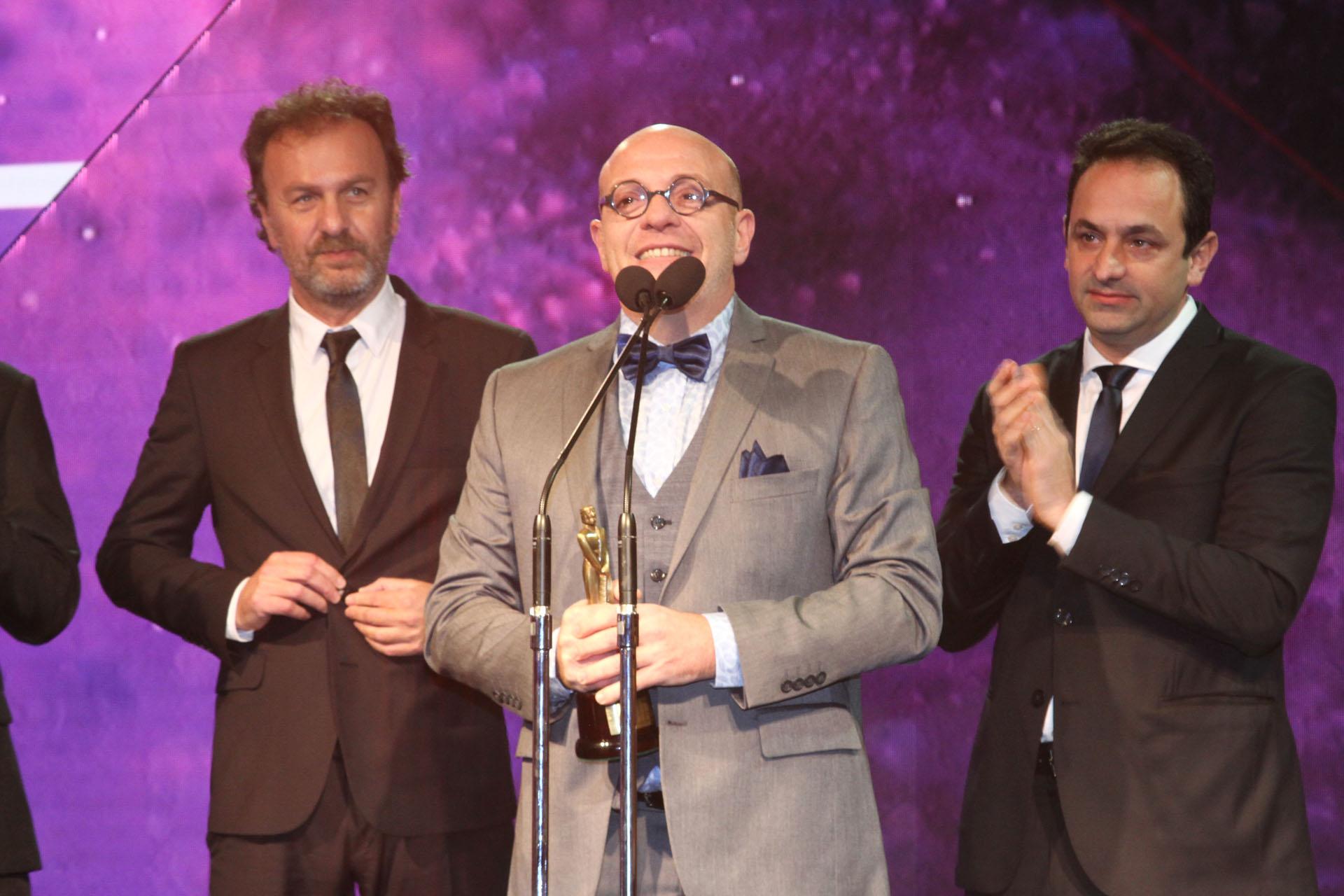 Campi recibió el premio a Noti Campi junto a los productores Alejandro Korol y Raúl Slonimsky