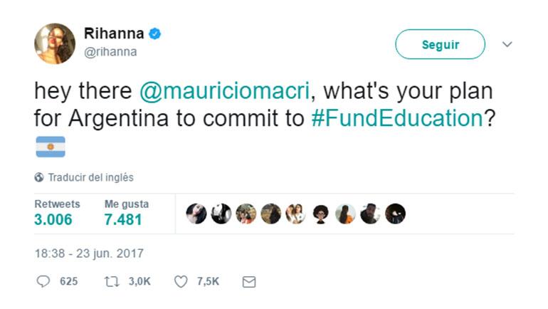 Rihanna desafió a Macri y otros presidentes del mundo para que aumenten sus presupuestos en educación.