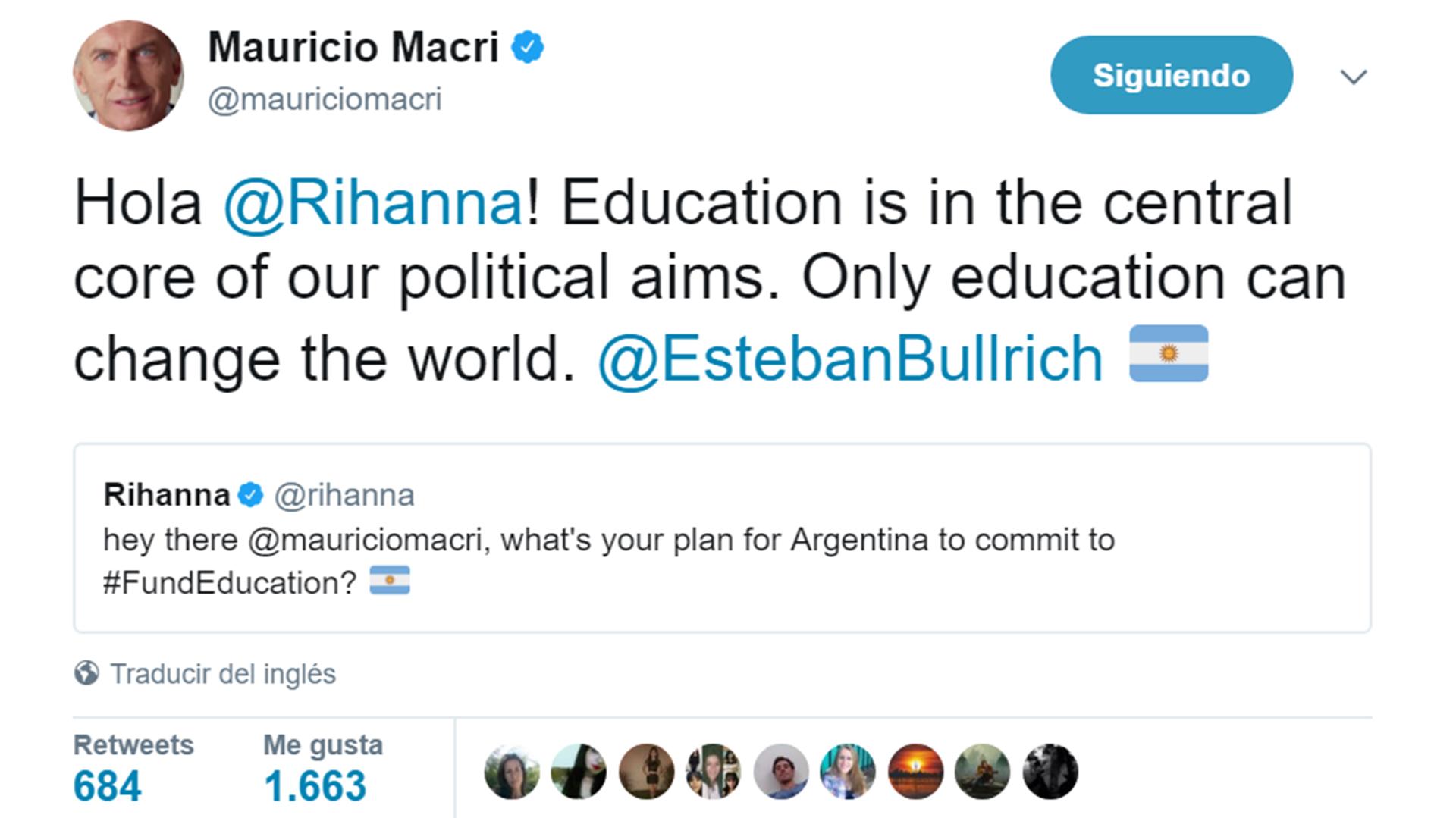 La respuesta de Macri a Rihanna.