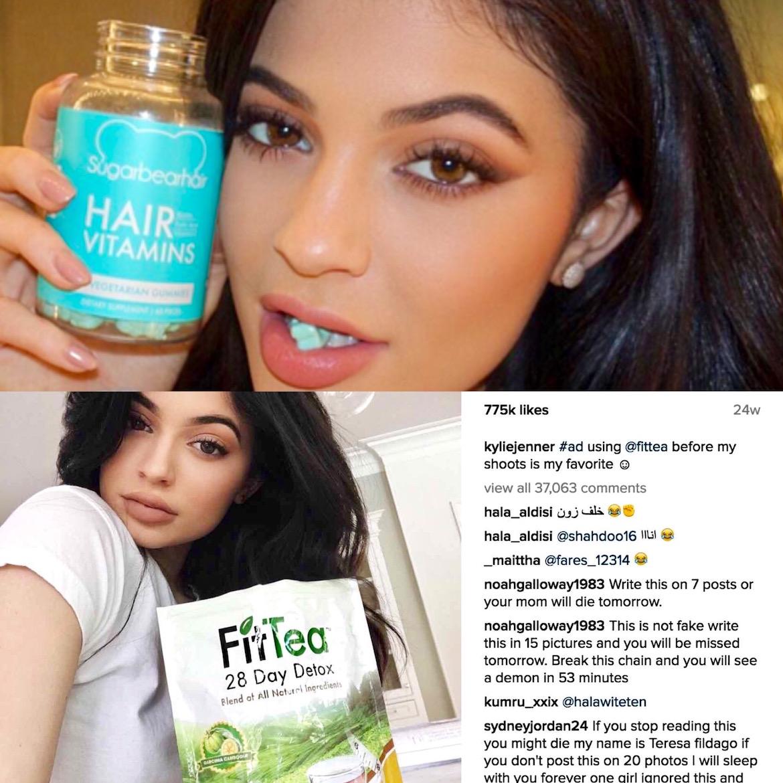 Vitaminas en forma de gomitas para el crecimiento del pelo entre los productos promocionados por Kylie Jenner en redes