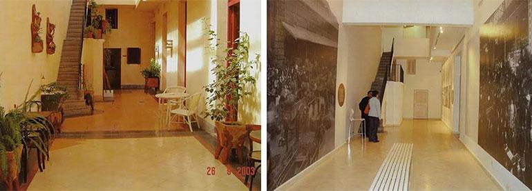 El antes y el después: el patio cubierto y la escalera de la casa del Abasto en 2003 y 2016.