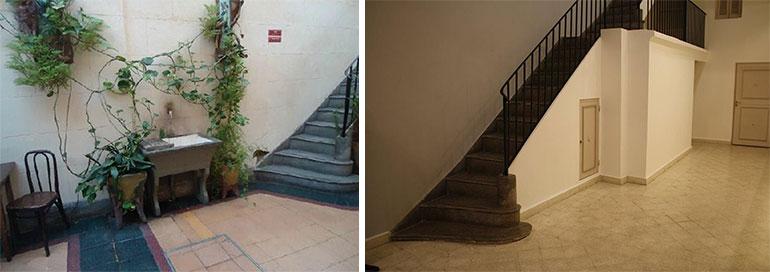 El antes y el después: el patio cubierto y la escalera de la casa del Abasto.