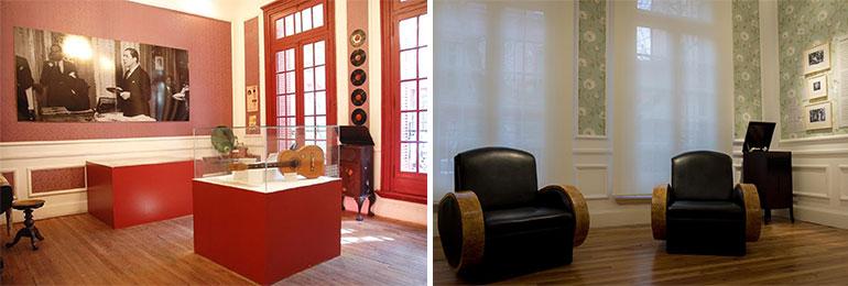 El antes y el después de la sala en la que Carlos Gardel componía y cantaba con sus amigos. Del otro lado de las ventanas, la gente se amontonaba en la vereda para escucharlo.