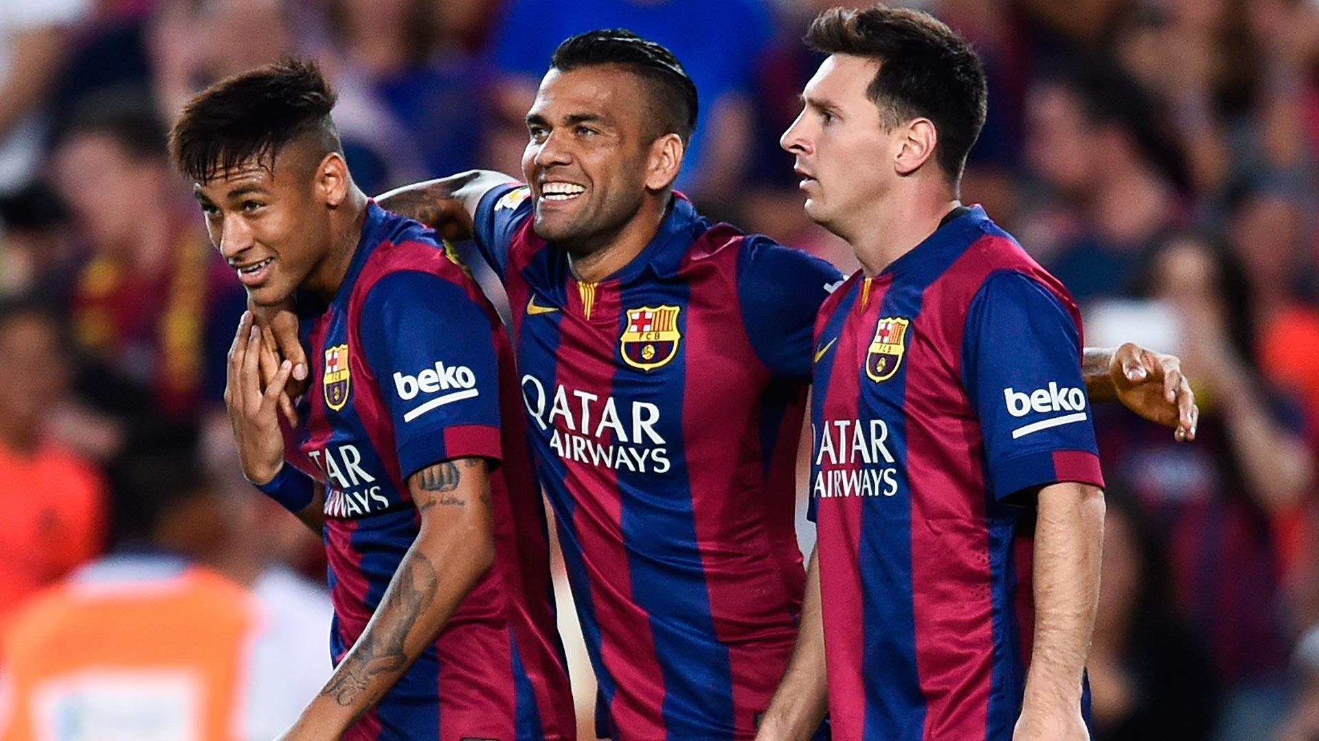 Neymar, Dani Alves y Messi jugaron juntos en Barcelona (Getty Images)