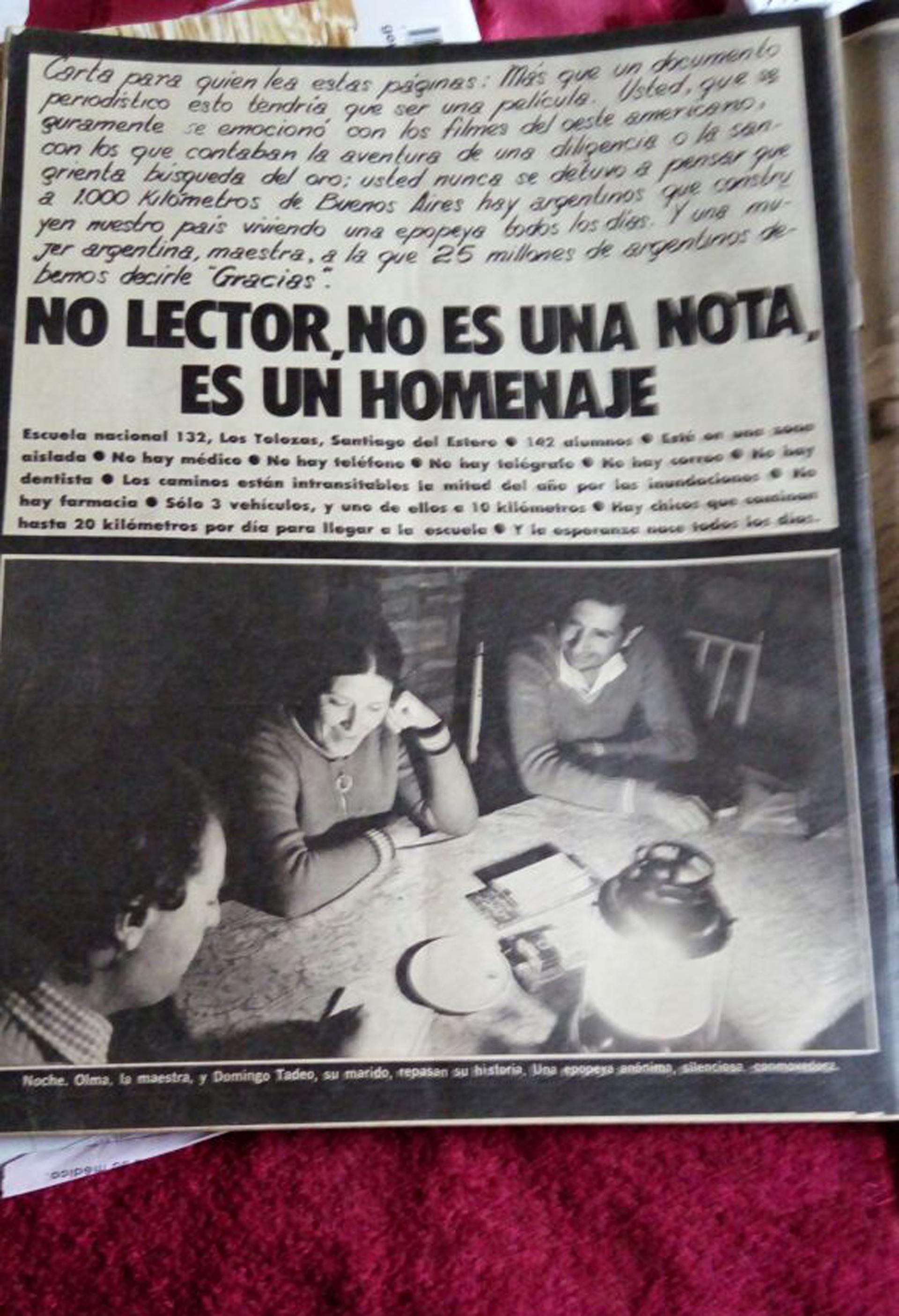 Retazos periodísticos de la vocación inalterable de Olma y su marido Domingo (Archivo personal Olma Santillán)