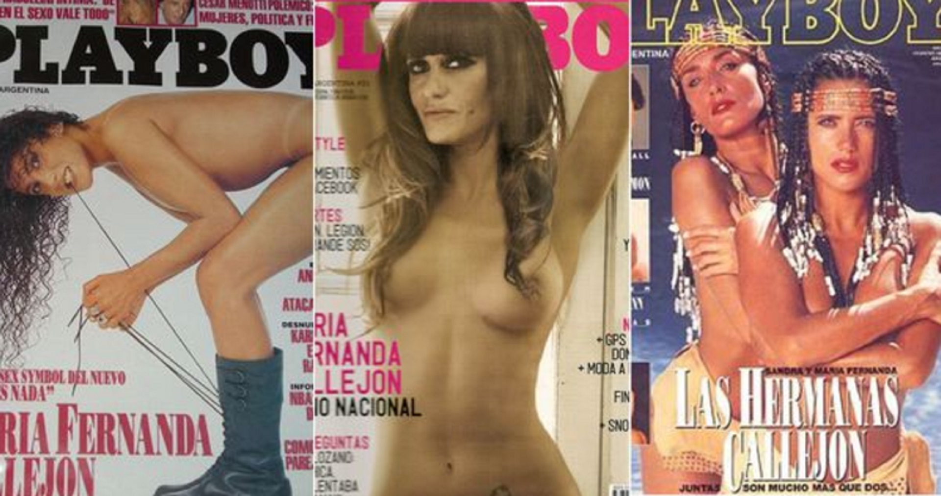 Tres de las seis tapas de Playboy que hizo María Fernanda Callejón