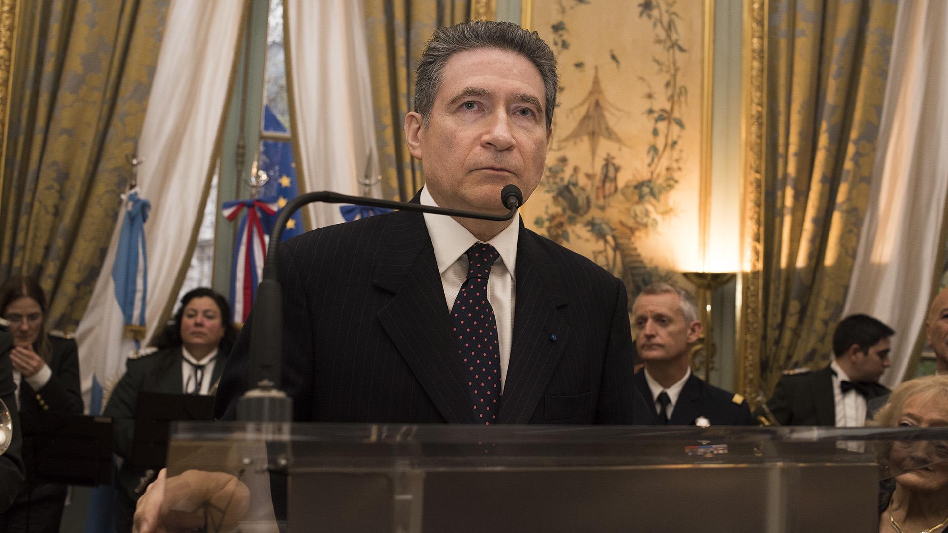 Pierre-Henri Guignard, embajador de Francia en la Argentina, durante su discurso por la Fiesta Nacional