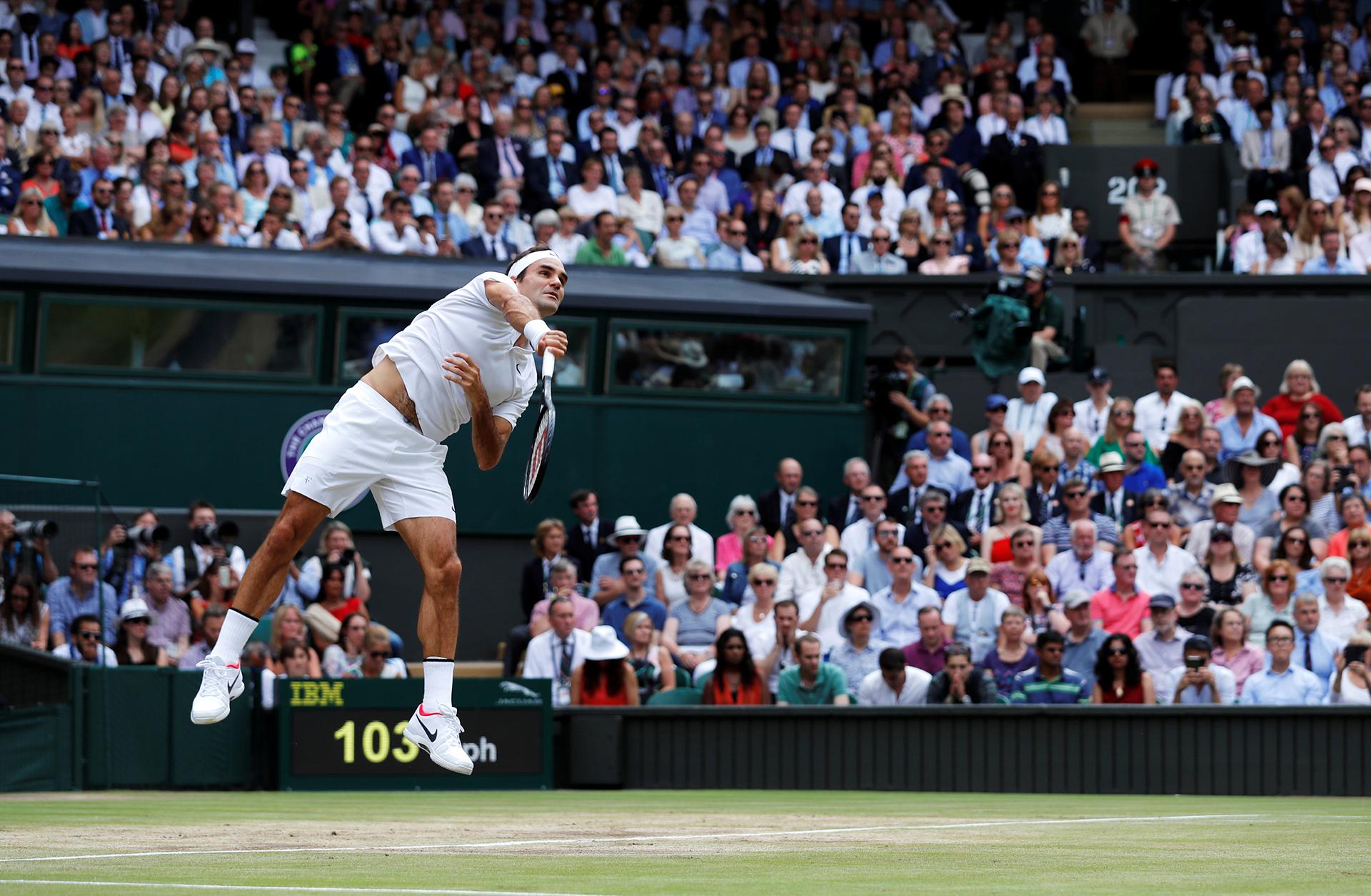 El saque de Roger Federer, un imagen icónica del All England
