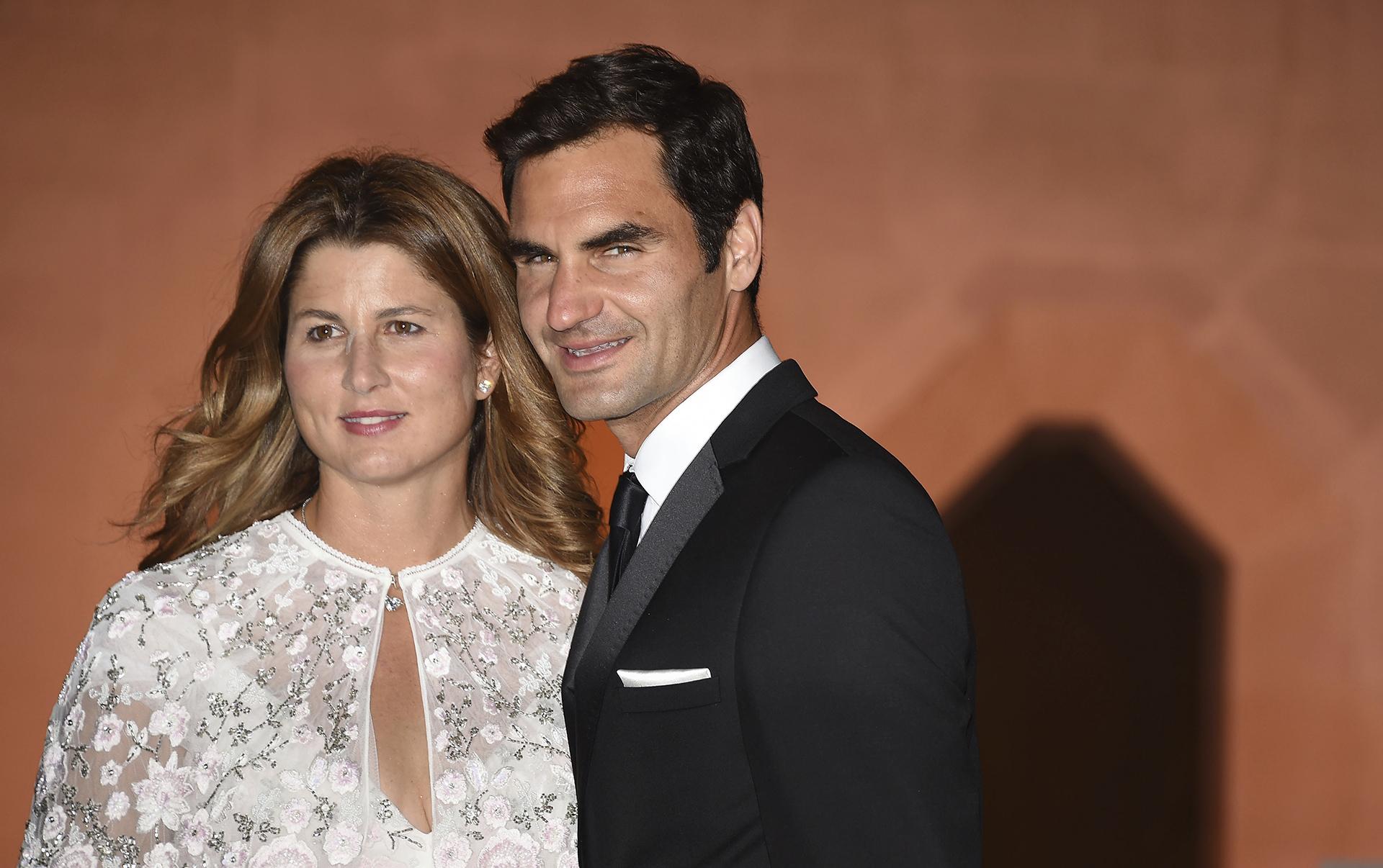 Federer asistió a la Cena de Campeones con su esposa y madre de sus cuatro hijos, Mirka Vavrinek(Lauren Hurley/PA via AP)