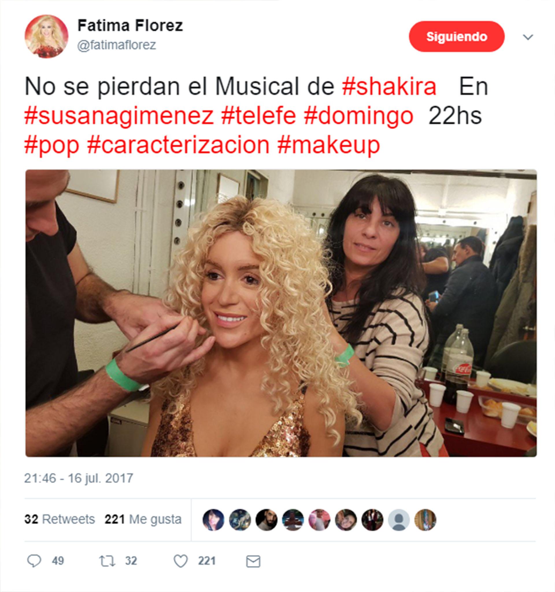 La publicación de Fátima Florez, antes de comenzar el programa