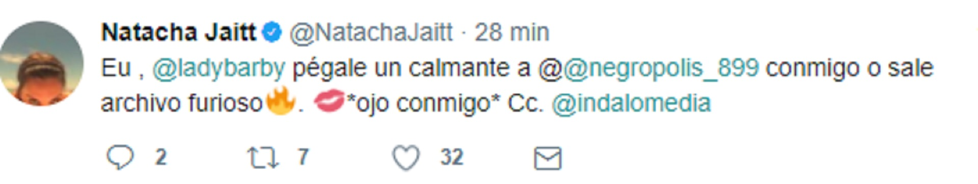 La furia de Natacha Jaitt vs La Negra Vernaci en Twitter