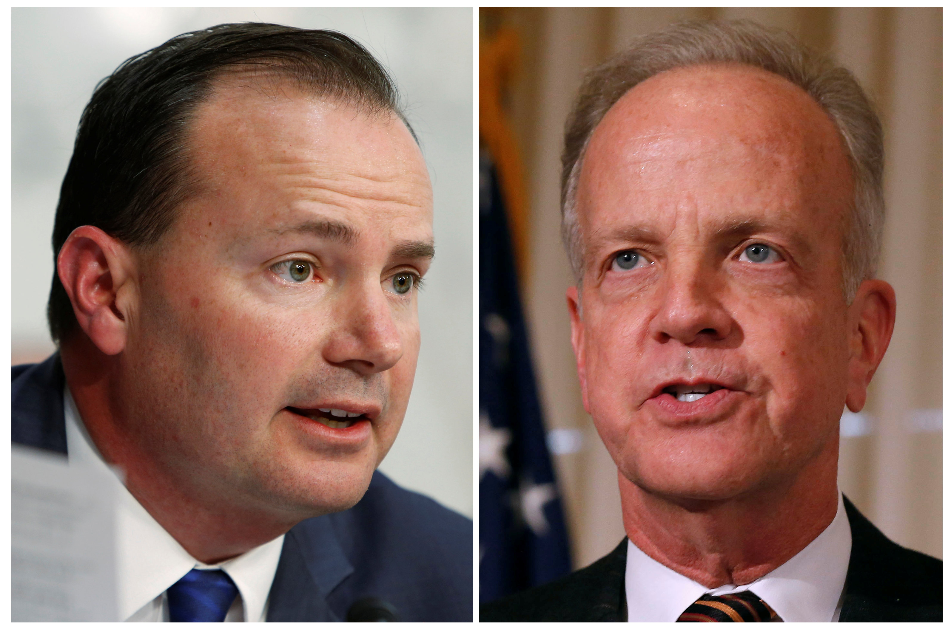 Los senadores Mike Lee y Jerry Moran (Reuters)