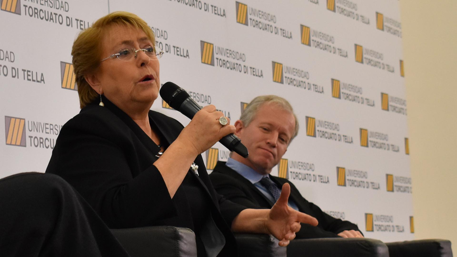 """""""El Chile que me tocó vivir en esta ocasión es bien distinto del Chile anterior"""", dijo Bachelet sobre su segundo mandato (Cortesía UTDT)"""