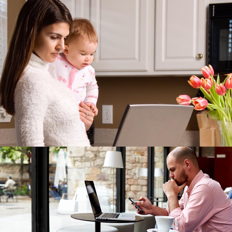 Las madres han sido probablemente las principales beneficiarias de una práctica que les permitió combinar la crianza de sus hijos con las obligaciones laborales sin salir de casa. Debajo, un hombre trabaja desde el lobby de un hotel