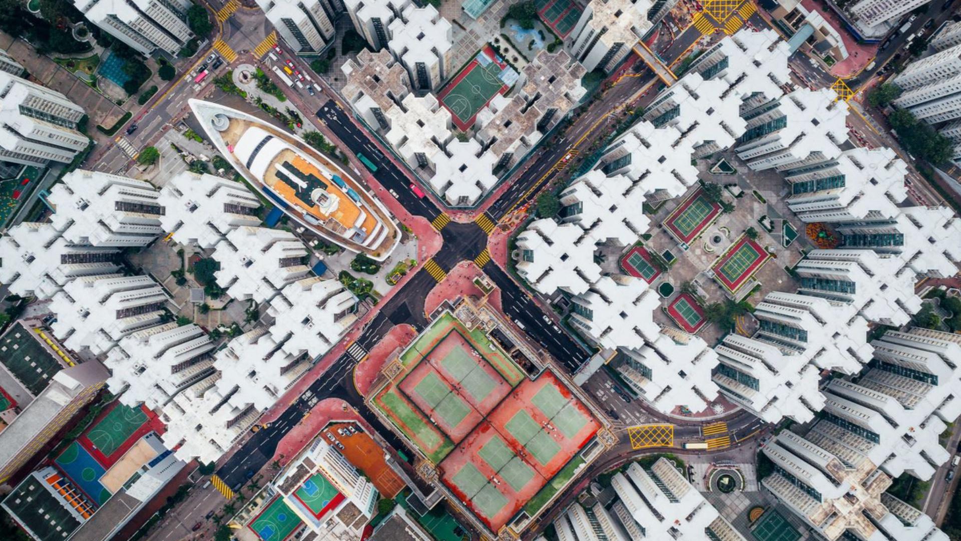 Ciudades – Segundo lugar. Una vista aérea de los edificios de Whampoa Garden, en Honk Kong. Un retrato de la modernidad en un área con densidad poblacional extrema. Por Andy Yeung