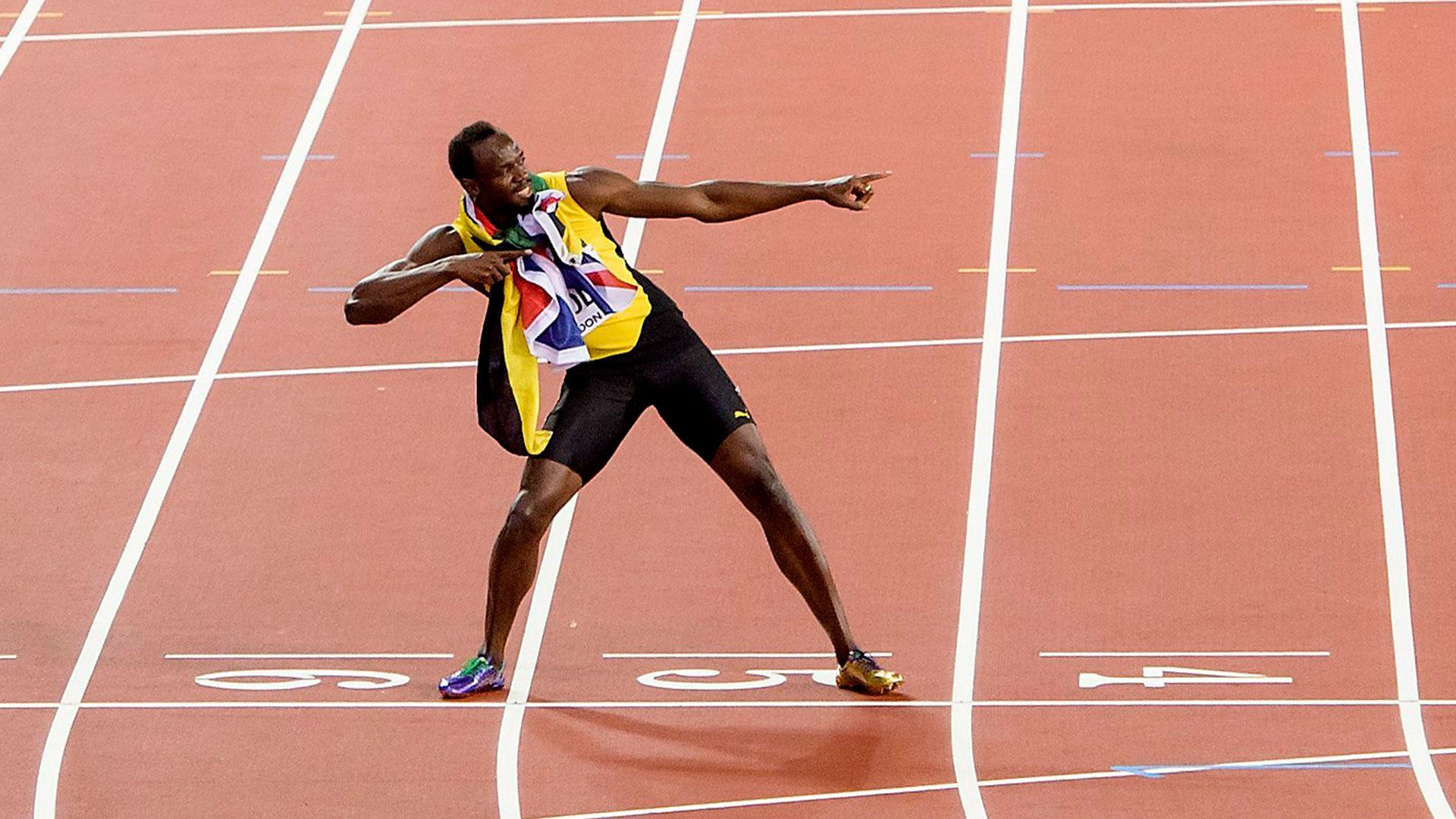 Bolt hizo su tradicional festejo a pesar de no ganar la medalla de oro