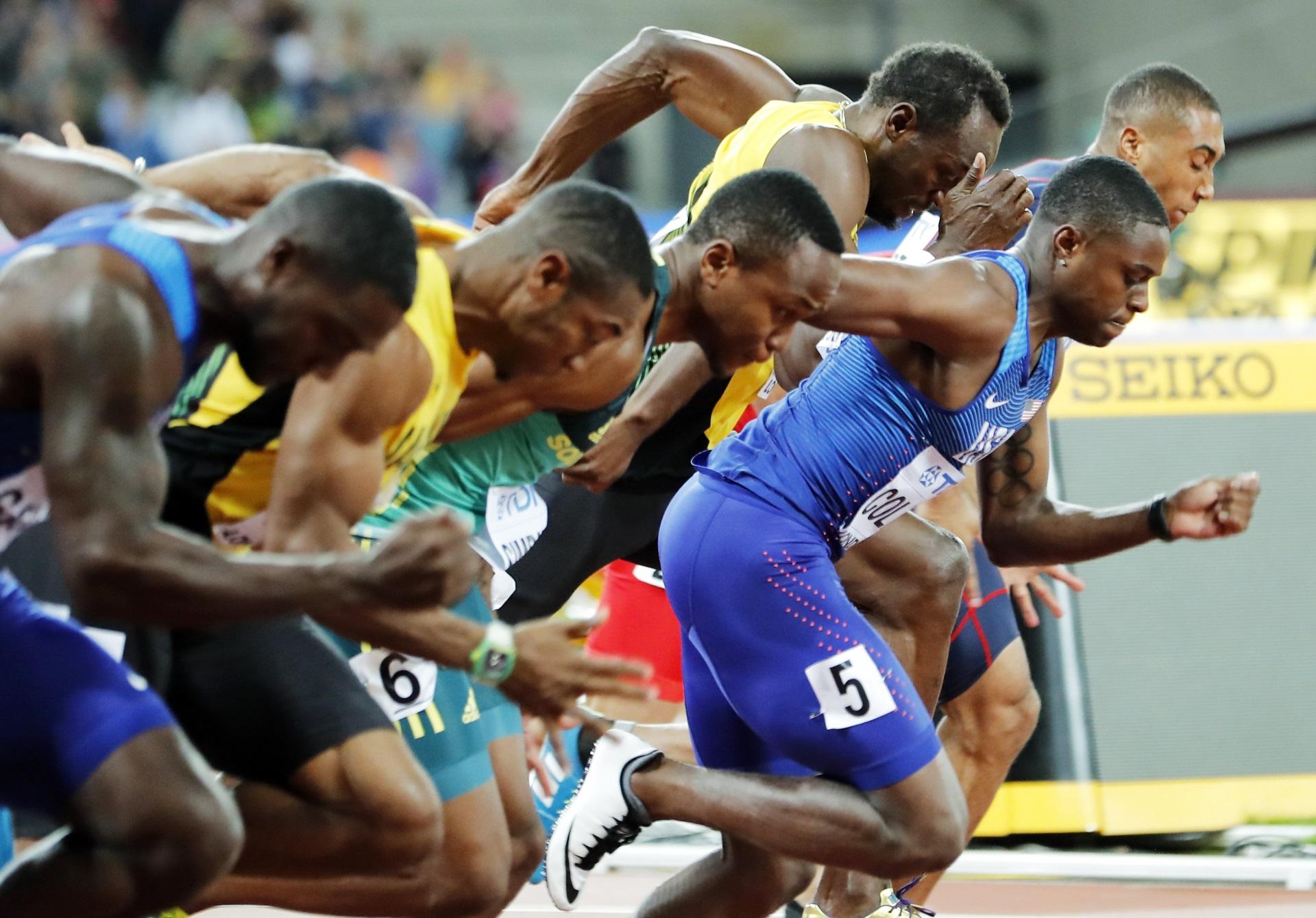 Coleman saca ventaja en la largada; Bolt y Gatlin se esfuerzan