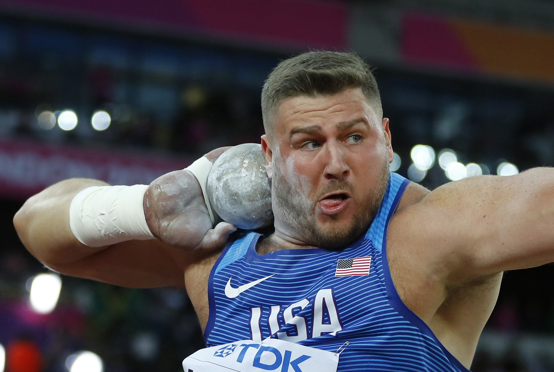 Athletics – World Athletics Championships – Men's Shot Put Final – London Stadium, London, Britain – August 6, 2017. Joe Kovacs of the U.S. in action. REUTERS/Kai Pfaffenbach