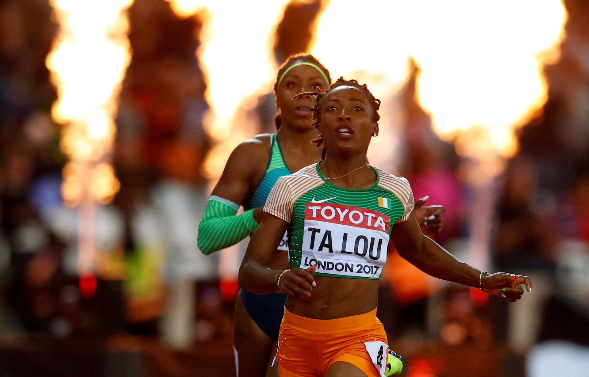 Marie-Josee Ta Lou, de Costa de Marfil, luego dela final de los 100 metros