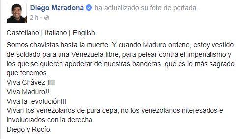 Maradona se ofrece como 'soldado' de Maduro
