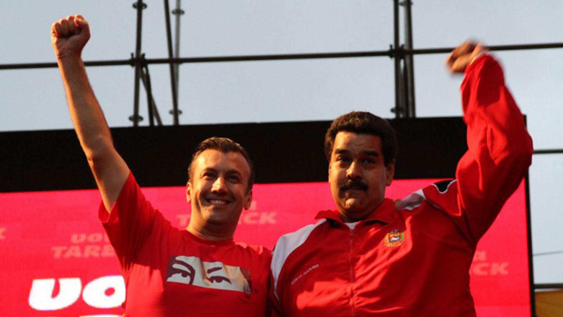 El vicepresidente venezolano Tareck el Aissami y el presidente Nicolás Maduro