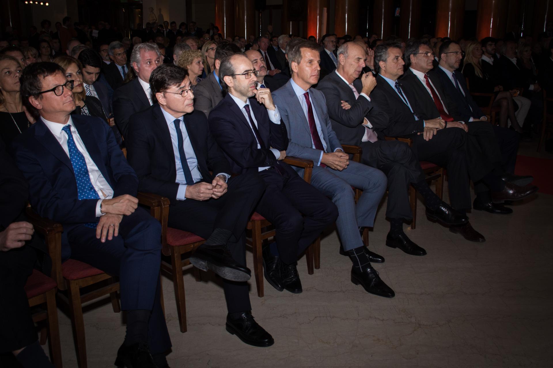 La primera fila de la entrega de los premios Fortuna en la Bolsa de Comercio de Buenos Aires