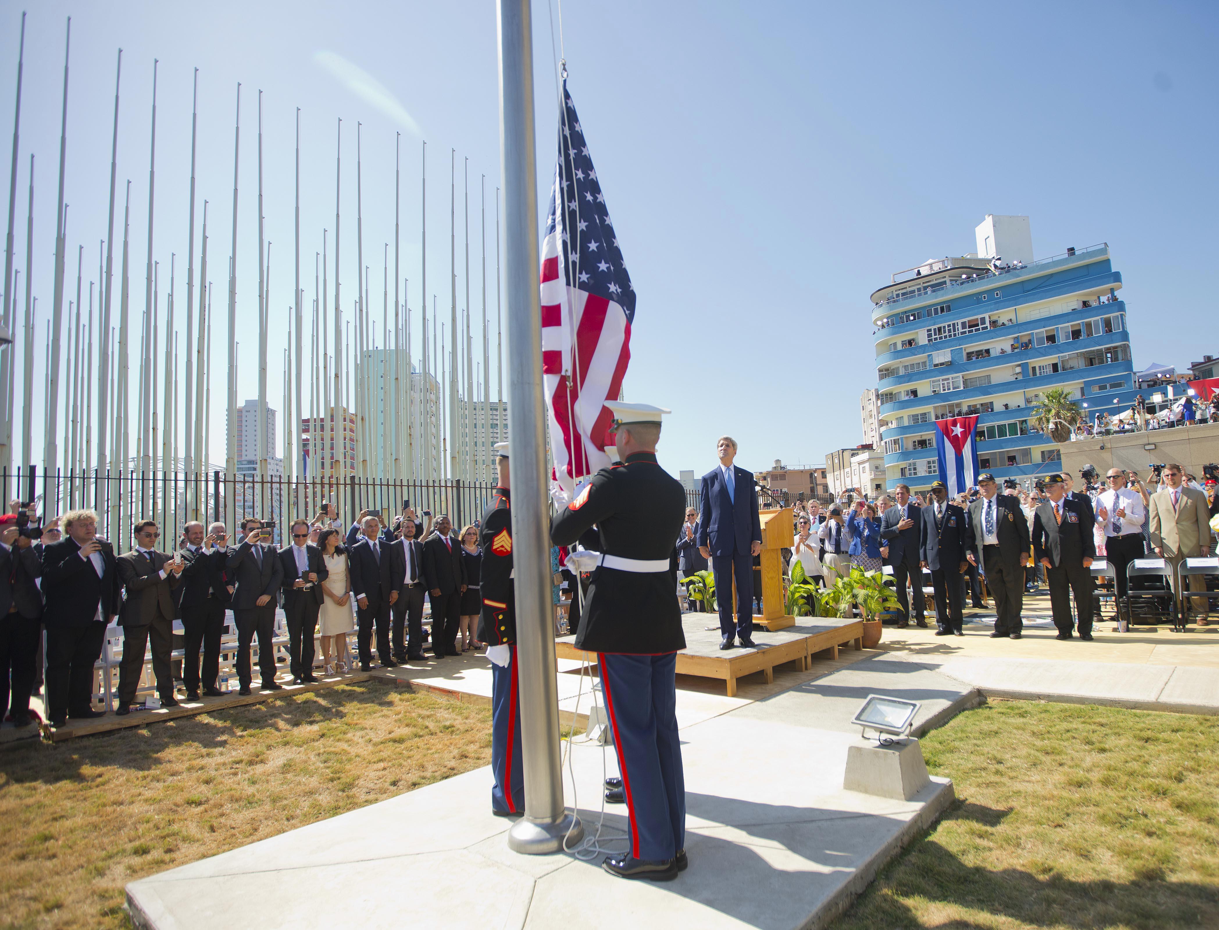 John Kerry durante la inauguración de la embajada estadounidense en La Habana. (AP)